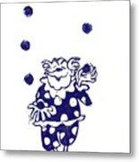 Juggling Clown Metal Print
