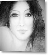 Julia In Black And White Metal Print