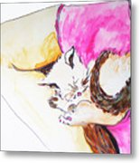 July Kitty In Rachaels Lap Metal Print