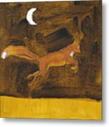 Jumping Fox And The Moon Metal Print