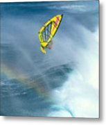 Jumping The Spray Metal Print