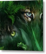 Jungle Eyes - Panther And Ocelot  Metal Print
