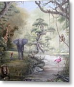 Jungle Treehouse Metal Print