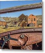 Junk Car Window View Metal Print