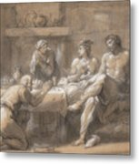 Jupiter And Mercury In The House Of Baucis And Philemon Metal Print