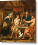 Jupiter And Mercury In The House Of Philemon And Baucis Metal Print