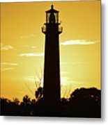 Jupiter Lighthouse Golden Sunrise Metal Print