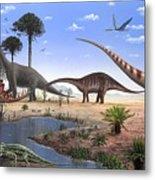 Jurassic Dinosaurs, Artwork Metal Print