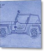 Jurassic Park Jeep Blueprint Metal Print