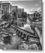 Just Before Sunset B W Reedy River Falls Park Greenville South Carolina Art Metal Print