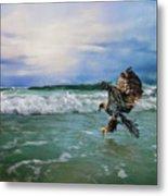 Juvenile Eagle At Sea Wildlife Art Metal Print