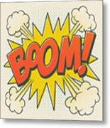 Comic Boom On Off White Metal Print