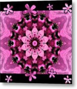 Kaleidoscope 1 With Black Flower Framing Metal Print