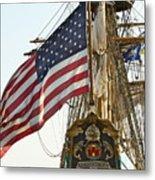 Kalmar Nyckel American Flag Metal Print