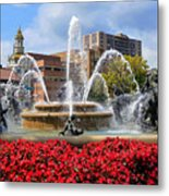 Kansas City Fountain Ablaze In Crimson Metal Print