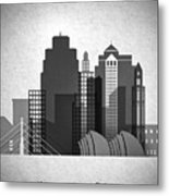 Kansas City Skyline In Black And White Metal Print