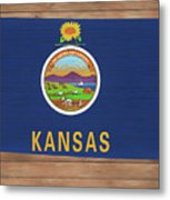 Kansas Rustic Map On Wood Metal Print