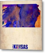 Kansas Watercolor Map Metal Print by Naxart Studio