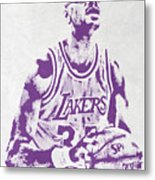 Kareem Abdul Jabbar Los Angeles Lakers Pixel Art Metal Print