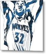 Karl Anthony Towns Minnesota Timberwolves Pixel Art Metal Print