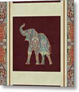 Kashmir Elephants - Vintage Style Patterned Tribal Boho Chic Art Metal Print