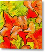 Kathies Daylilies Fine Art Painting North Carolina Metal Print