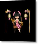 Kawaii China Doll Scene Metal Print