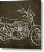 Kawasaki Motorcycle Blueprint, Mid Century Brown Art Print Metal Print