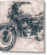 Kawasaki Triple - Kawasaki Motorcycles - 1968 - Motorcycle Poster - Automotive Art Metal Print