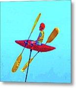 Kayak Guy On A Stick Metal Print