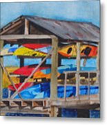 Kayak Rainbow Metal Print