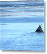 Kayaker And Geese Metal Print
