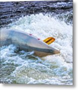 Kayaker Goes Over In Pipeline Rapids 5965ct Metal Print