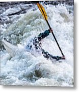 Kayaker In Action At Pipeline Rapids In James River 5956c Metal Print
