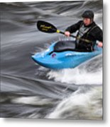 Kayaker Riding The Flow Of The Shannon River Limerick Ireland Metal Print