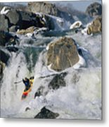 Kayaker Running Great Falls Metal Print