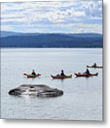Kayakers Paddle To Fishing Cone On Yellowstone Lake Metal Print