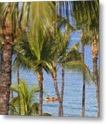 Kayakers Through Palms Metal Print