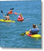 Kayaking Friends Metal Print