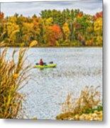 Kayaking In Fall Metal Print