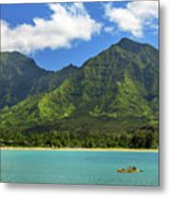 Kayaks In Hanalei Bay Metal Print