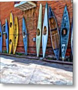 Kayaks On A Wall  Metal Print