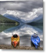 Kayaks On Bowman Lake Metal Print by Donna Caplinger