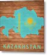 Kazakhstan Rustic Map On Wood Metal Print