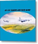Kc-130 Tanker Aircraft And Pave Hawk With Banner Metal Print