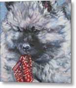 Keeshond Puppy With Christmas Stocking Metal Print