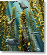 Kelp Forest With Seals Metal Print
