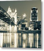 Kentucky View Of The Cincinnati Ohio Skyline - Sepia Panorama Metal Print