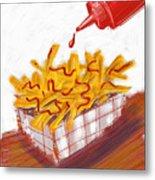 Ketchup And Fries Metal Print