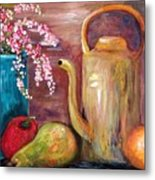 Kettle And Fruit Metal Print